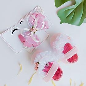 Bộ sản phẩm Giày tập đi + 1 Băng Đô cho bé gái sơ sinh từ 0 - 12 tháng - Quà tặng thôi nôi- Ma08 - màu hồng nơ trắng đính ngọc