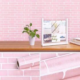 Combo 10m giấy dán tường giả gạch hồng có keo sẵn