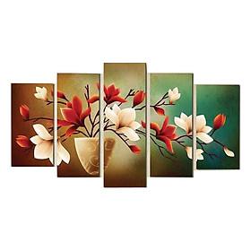 Bộ 5 tấm tranh treo tường Hoa Lan Đất 2 Màu  /Gỗ nhập khẩu Hàn Quốc-Bo viền,chống lóa,ẩm mốc,mối mọt