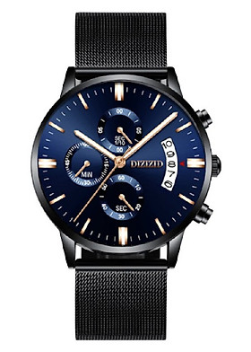 Đồng hồ nam DIZIZID dây thép mành chạy FULL 6 kim có lịch ngày cao cấp DZSK01 (mặt xanh - dây đen)