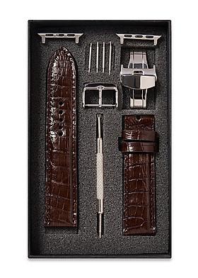 Dây đồng hồ SAM Leather SAM003ASN - Dây da đồng hồ Apple Watch 38/40 – 42/44, dây đồng hồ da cá sấu Size 20mm/22mm, Dây đeo đồng hồ phù hợp các loại ( Swatch, Apple 1,2,3,4,5, Iwatch và đồng hồ cổ điển )