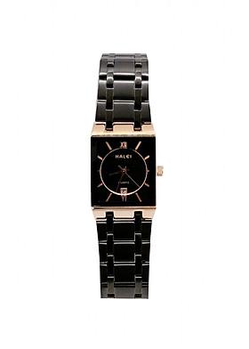 Đồng Hồ Nữ Halei- HL564 Dây đen mặt đen (Tặng pin Nhật sẵn trong đồng hồ + Móc Khóa gỗ Đồng hồ 888 y hình + Hộp Chính Hãng+ Thẻ Bảo Hành)