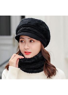 Hình ảnh Bộ Mũ len và choàng cổ lông xù trơn A071