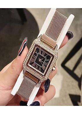 Đồng hồ nữ unisex thời trang cao cấp dây kim loại đinh đá sang trọng