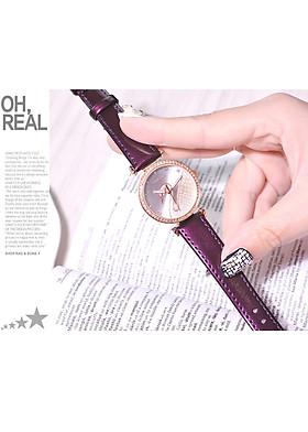 Đồng hồ nữ dây da thời trang mặt thiên nga đính đá