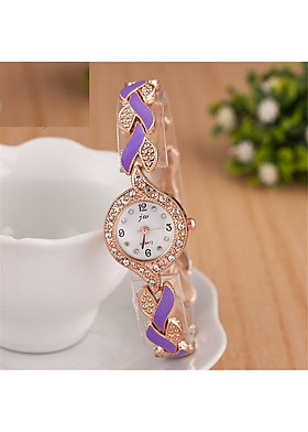 Đồng hồ quartz mặt tròn hình lá kiểu dáng thanh lịch cho nữ