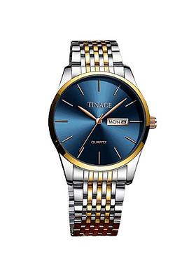 Đồng hồ nam cao cấp chất dây thép không gỉ phong cách cực sang trọng DHM09 ( mặt xanh-dây hai màu vàng trắng)