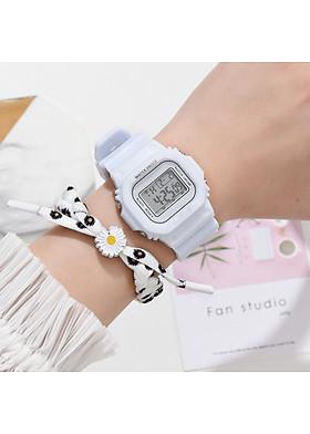Đồng hồ thể thao nam nữ điện tử thông minh DH106 với họa tiết hoa cúc trên dây độc lạ