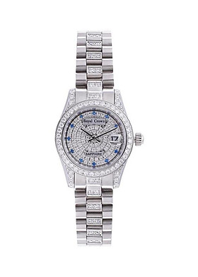 Đồng hồ nữ chính hãng Royal Crown 3594L dây thép mặt full đá
