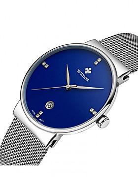 Đồng hồ nam dây thép Wwoor WR-8018 chống nước chống xước fullbox
