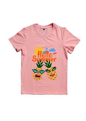 Hình ảnh Áo Thun Đôi Họa Tiết Trái Thơm Hello Summer Màu Hồng Ruốc