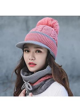 Hình ảnh Nón len nữ kèm khăn choàng cổ thời trang Hàn Quốc dn19121651