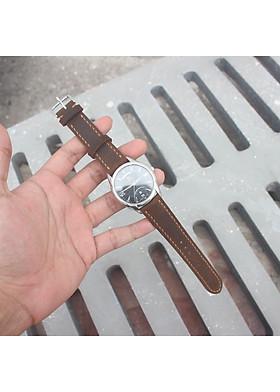 Dây đồng hồ da bò 2 lớp handmade [kèm khoá + 1 tool thay dây]