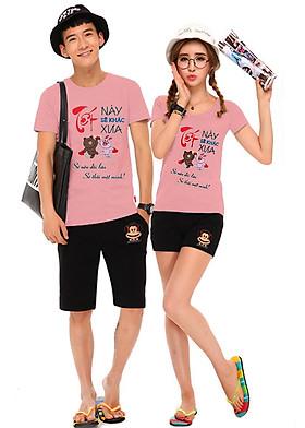 Hình ảnh Bộ Áo Thun Đôi Nam Nữ Tết Này Sẽ Khác Tết Xưa Màu Hồng Ruốc