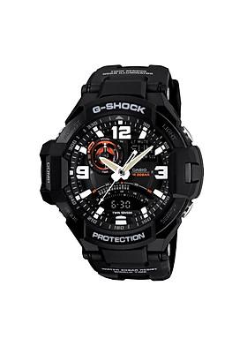 ĐỒNG HỒ CASIO G-SHOCK GA-1000-1ADR Đồng hồ La Bàn - Dây nhựa đen - Mặt điện tử kim đen viền đỏ