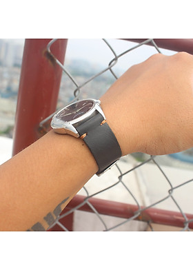 Dây đồng hồ da bò đen 1 lớp sang trọng [ kèm khoá + 1 tool thay dây ]