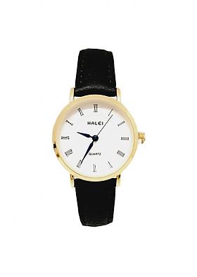 Đồng hồ Nữ Halei - HL540 Dây đen mặt trắng (Tặng pin Nhật sẵn trong đồng hồ + Móc Khóa gỗ Đồng hồ 888 y hình + Hộp Chính Hãng)