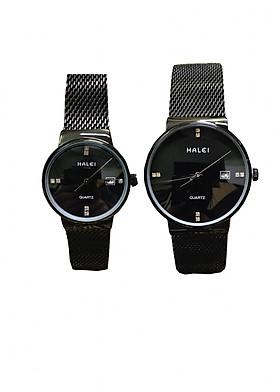 Cặp Đồng Hồ Nam Nữ Halei HL8024 full đen (Tặng pin Nhật sẵn trong đồng hồ + Móc Khóa gỗ Đồng hồ 888 y hình)