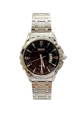 Đồng hồ Nam SKM 9069 dây trắng mặt đen (Tặng pin Nhật sẵn trong đồng hồ + Móc Khóa gỗ Đồng hồ 888 y hình + Hộp Chính Hãng)