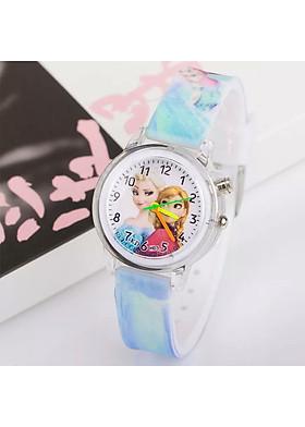 Đồng hồ Elsa & Anna dây silicon phát sáng nhiều màu sắc cho bé gái  – DH013