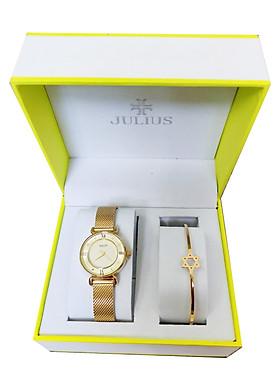 Combo đồng hồ nữ Julius Hàn Quốc và lắc tay nữ Julius Ja-728 Vàng