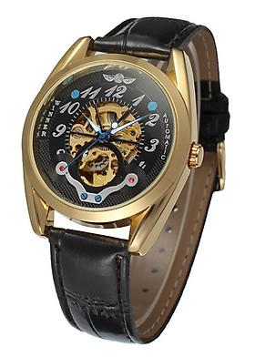 Đồng hồ cơ nam Winner H119M lộ máy dây da - Fullbox chính hãng