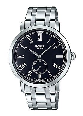Đồng hồ Casio Pin Nam dây Kim loại kính Cứng MTP-E150D-1BVDF