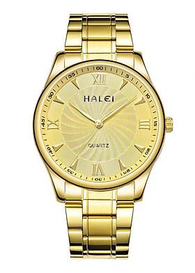 Đồng hồ Nam Halei cao cấp - HL489 Dây vàng mặt vàng
