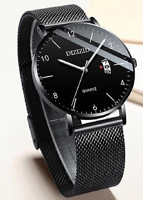 Đồng hồ nam dây thép lụa đen DIZIZID mặt mỏng chạy lịch ngày cao cấp Z3D8