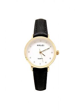 Đồng Hồ Nữ Halei HL542 Dây da đen mặt trắng (Tặng pin Nhật sẵn trong đồng hồ + Móc Khóa gỗ Đồng hồ 888 y hình + Hộp Chính Hãng)