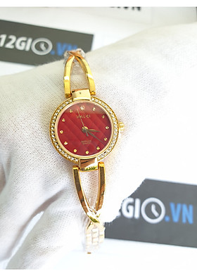 Đồng Hồ Nữ Halei Dáng Lắc 5017L - Dây vàng mặt đỏ