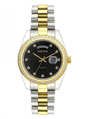 Đồng hồ Neos N-30898M nam dây thép bạc phối vàng