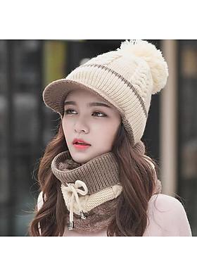 Hình ảnh Nón len nữ kèm khăn choàng cổ thời trang Hàn Quốc dn19121650
