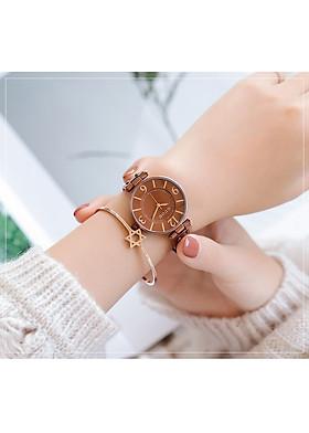 Đồng hồ nữ dây da mặt tròn nâu vintage Guou ĐHĐ23004