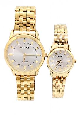 Cặp đồng hồ Nam Nữ Halei - HL502 Dây vàng