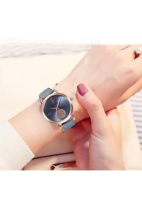 Đồng hồ nữ Qicaihong dây da cao cấp mặt đính đá sang trọng phong cách