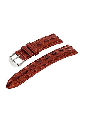 Dây đồng hồ nam da cá sấu thật gai nổi màu nâu đỏ