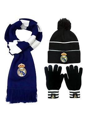 Hình ảnh Bộ khăn len, nón len, bao tay len Real Madrid