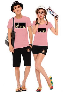 Hình ảnh Bộ Áo Thun Đôi Paris - Màu Hồng Ruốc