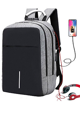 Hình ảnh Balo Laptop Nam Nữ Thời Trang, Kèm Khóa Chống Trộm Và Cổng Sạc USB Tiện Dụng
