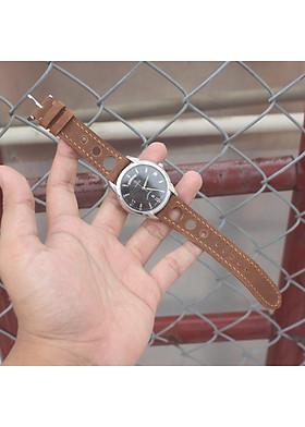 [kèm Khoá + 1 tool thay dây ]  Dây đồng hồ da bò sáp 2 lớp - S01L