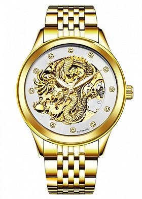 Đồng hồ chạy cơ Automatic nam dây thép TEVISE Mặt Rồng Vàng