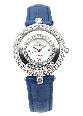Đồng hồ nữ chính hãng Royal Crown 3628 - dây da xanh