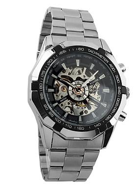 Đồng hồ nam Winner TM340 cơ lộ máy dây thép không gỉ - Fullbox chính hãng