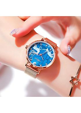 Đồng hồ nữ dây kim loại Aborni Hươu Xanh
