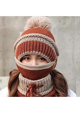 Hình ảnh Mũ nón len nữ kèm khăn choàng cổ len kèm khẩu trang dn19111310