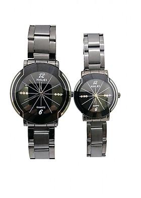 Cặp Đồng Hồ Nam Nữ Halei HL457 (Tặng pin Nhật sẵn trong đồng hồ + Móc Khóa gỗ Đồng hồ 888 y hình + hộp chính hãng)