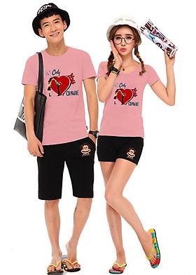 Hình ảnh Bộ Áo Thun Đôi Nam Nữ Only love Onnie Màu Hồng Ruốc
