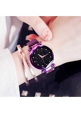 Đồng hồ nữ mặt vát 3d lấp lánh dây thép nhuyễn sang trọng