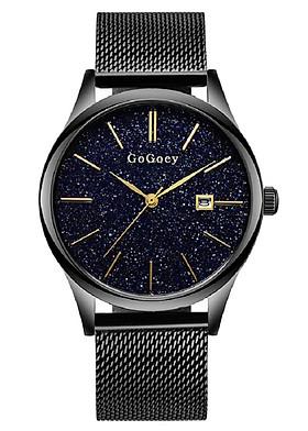 Đồng hồ nam GoGoey dây thép lưới mặt dạ quang có lịch ngày cao cấp GG01